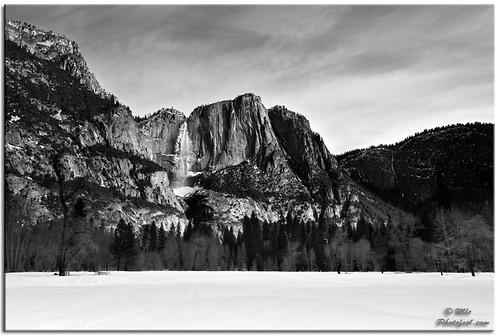 Upper Yosemite Falls in Winter (BW) | by photofool