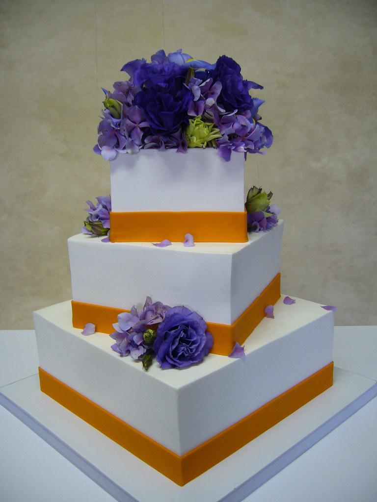 Purple/Orange wedding cake | Square, offset, buttercream ext… | Flickr