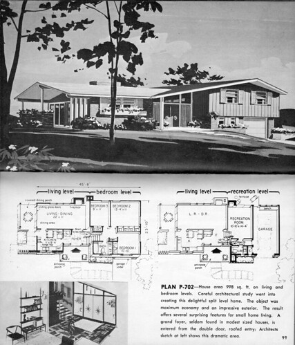 Split level plan p 702 from hayden homes little for 1960 s home plans