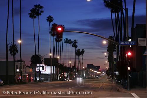 Santa Monica Boulevard At Night Santa Monica Los Angeles