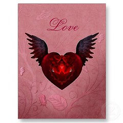 Gothic Love Heart With Angel Wings