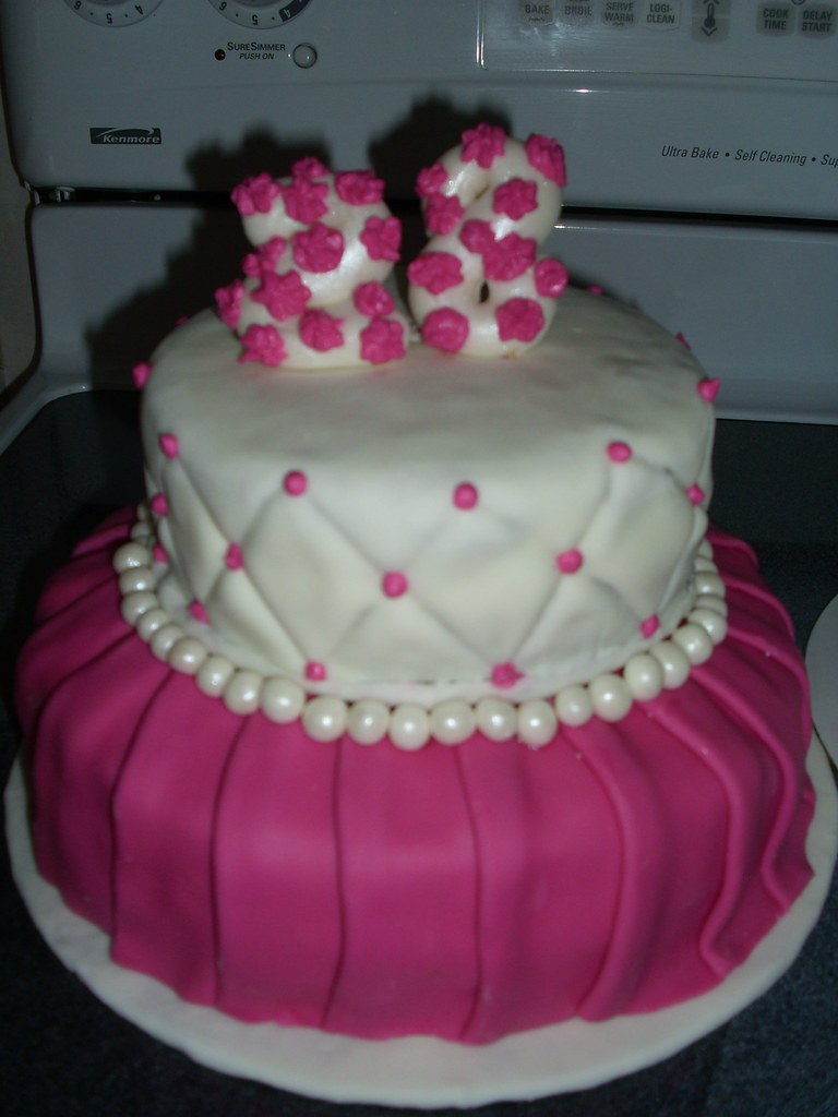 Pink 28th Birthday Cake The Second Fondant Cake Ive Made Flickr