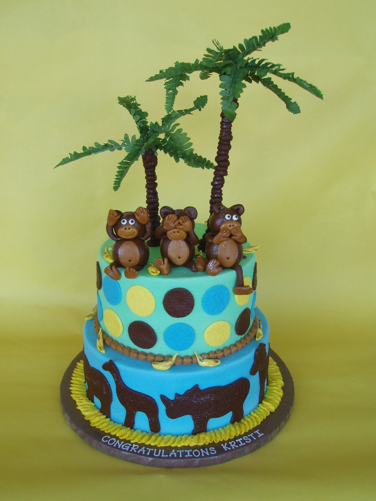 Monkey Safari Baby Shower Cake These Cute Little Fondant M Flickr