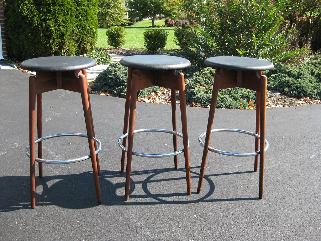 Mid century modern 29 teak chrome and leather bar stools by atomicartifacts