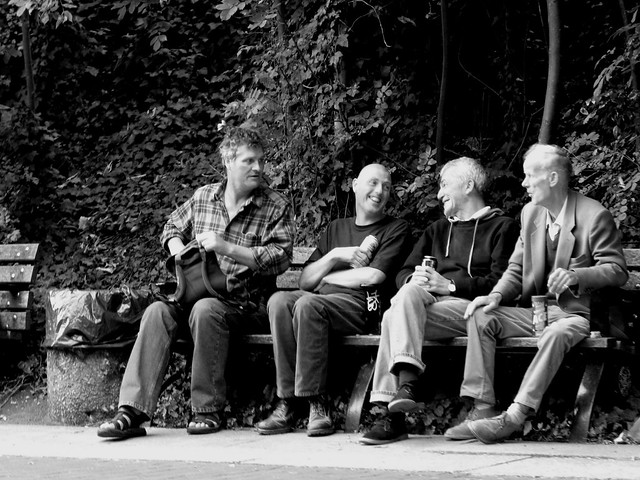 British blokes on a bench