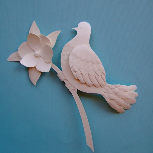 Bird paper sculpture made of acid free card about 13cm for How to make a 3d bird sculpture