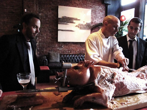 Chambar co owner nico schuermans carves as chambar gm mike for Nico s fish market