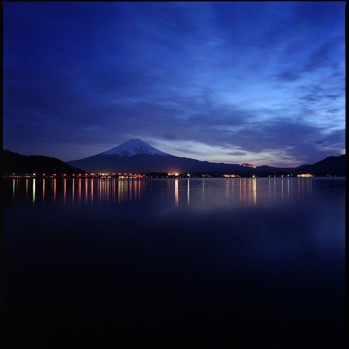 Lake Kawaguchiko at night (HASSELBLAD SWC) | by potopoto53age