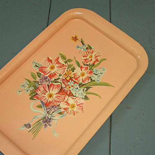 Metal Tray with Litho Flowers | by The T-Cozy