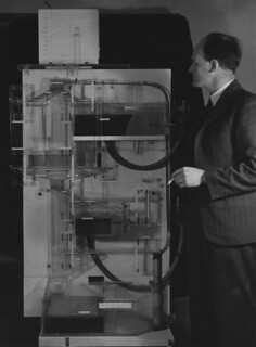 Professor A.W.H (Bill) Phillips with Phillips Machine c1958-67 | by LSE Library