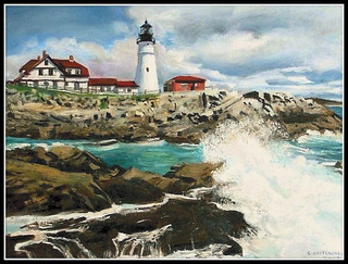Portland Head Light - Oil Painting by STEVEN CHATEAUNEUF - Photo Also by STEVEN CHATEAUNEUF | by snc145