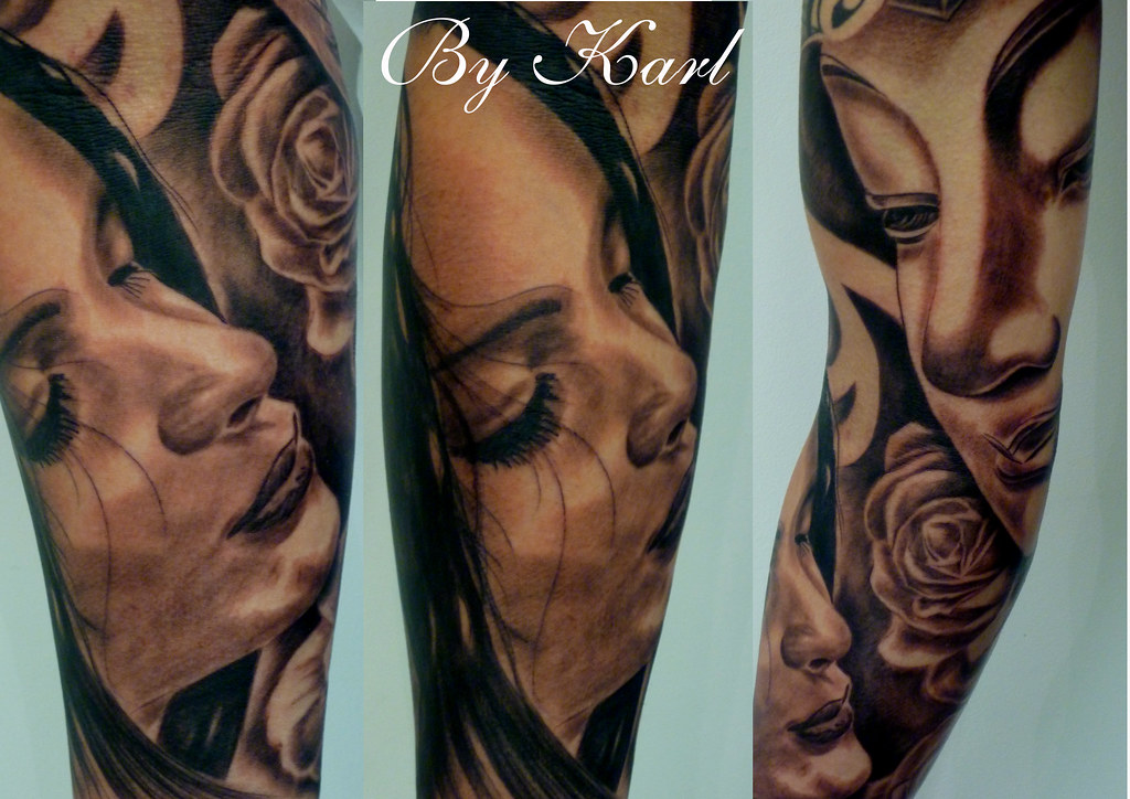 Black and grey portrait buddha rose sleeve tattoo by white