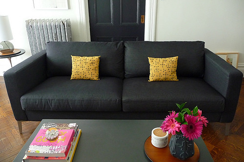 ikea karlstad sofa with sivik dark gray slipcover and aluminum legs by achu92 - Ikea Karlstad Sofa