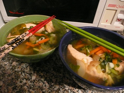 poached salmon in noodle soup | by sashinka-uk