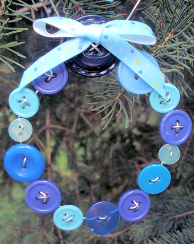 Blue Button Wreath for Christmas | by Pictures by Ann