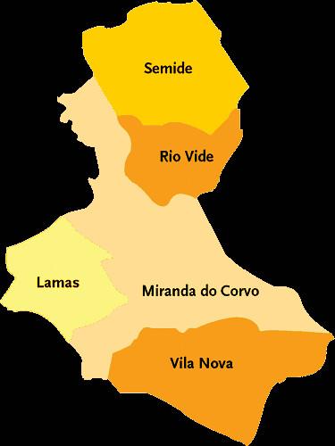 mapa corvo Concelho de Miranda do Corvo | Mapa das freguesias | Jorge Bastos  mapa corvo