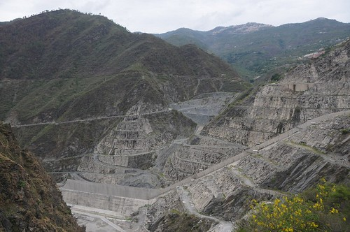 Denuded mountain slopes near the Tehri dam site.