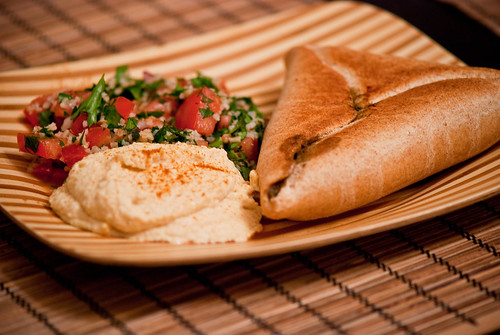 Spinach Pie, Hummus, and Tabouli | by swellvegan