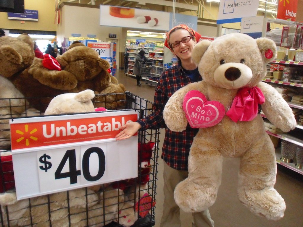 happy valentines day from a giant over priced teddy bear at wal mart and