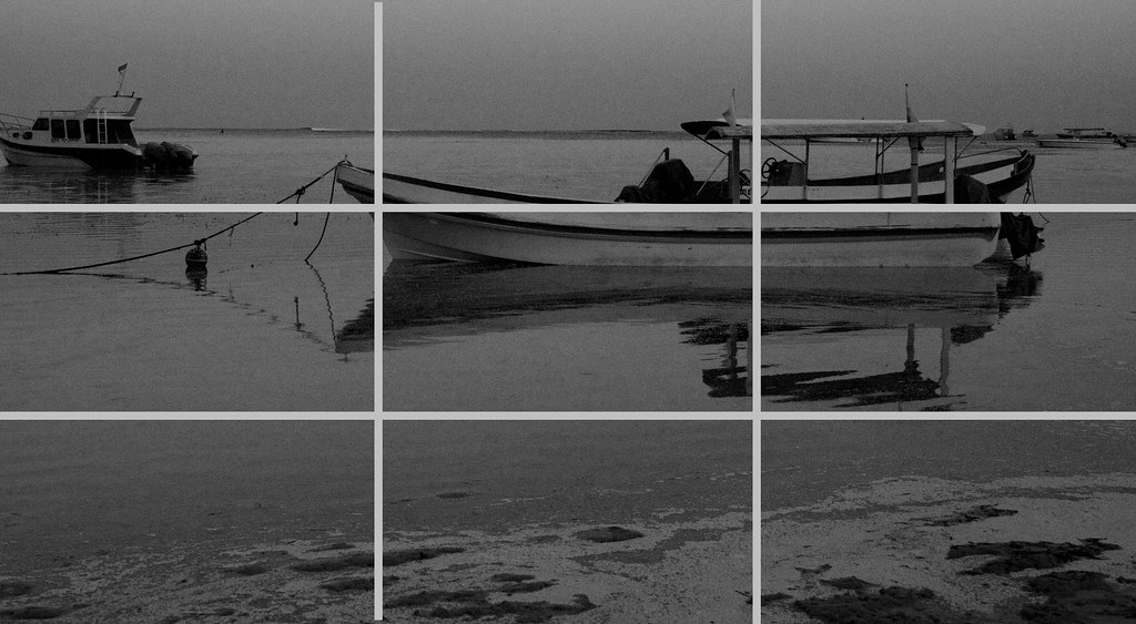 A quiet evening black and white with rule of thirds grid by drcason org