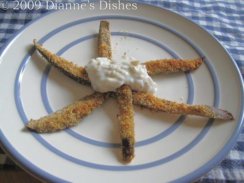"Eggplant ""Fries"" with Creamy Onion Dip 
