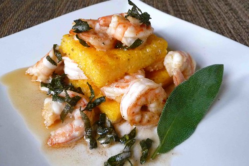 Garlic Shrimp & Parmesan Polenta Stacks with Brown Butter ...