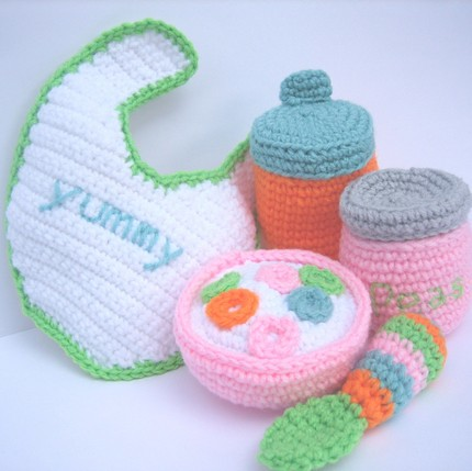 Crochet Pattern For Doll Sling : Baby doll feeding set Crochet pattern includes ...