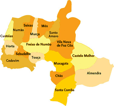 mapa de foz coa Concelho de Vila Nova de Foz Côa | Mapa das freguesias | Jorge  mapa de foz coa