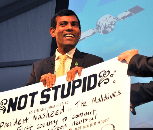President Muhammed Nasheed accepts his Not Stupid award | by spannerfilms