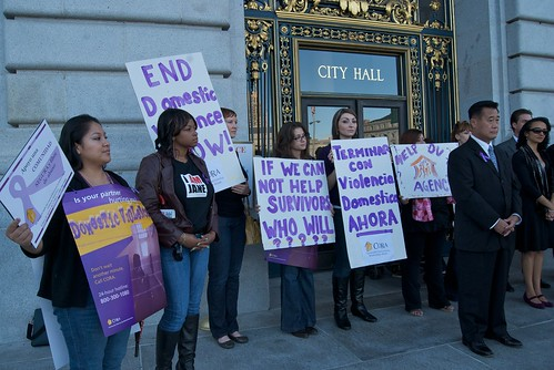 Calling on Governor Schwarzenegger to sign domestic violence bill on steps of San Francisco City Hall | by Steve Rhodes