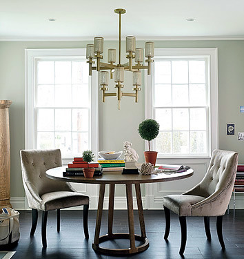 Elegant Dining Room Circular Table Upholstered Chairs From Domino