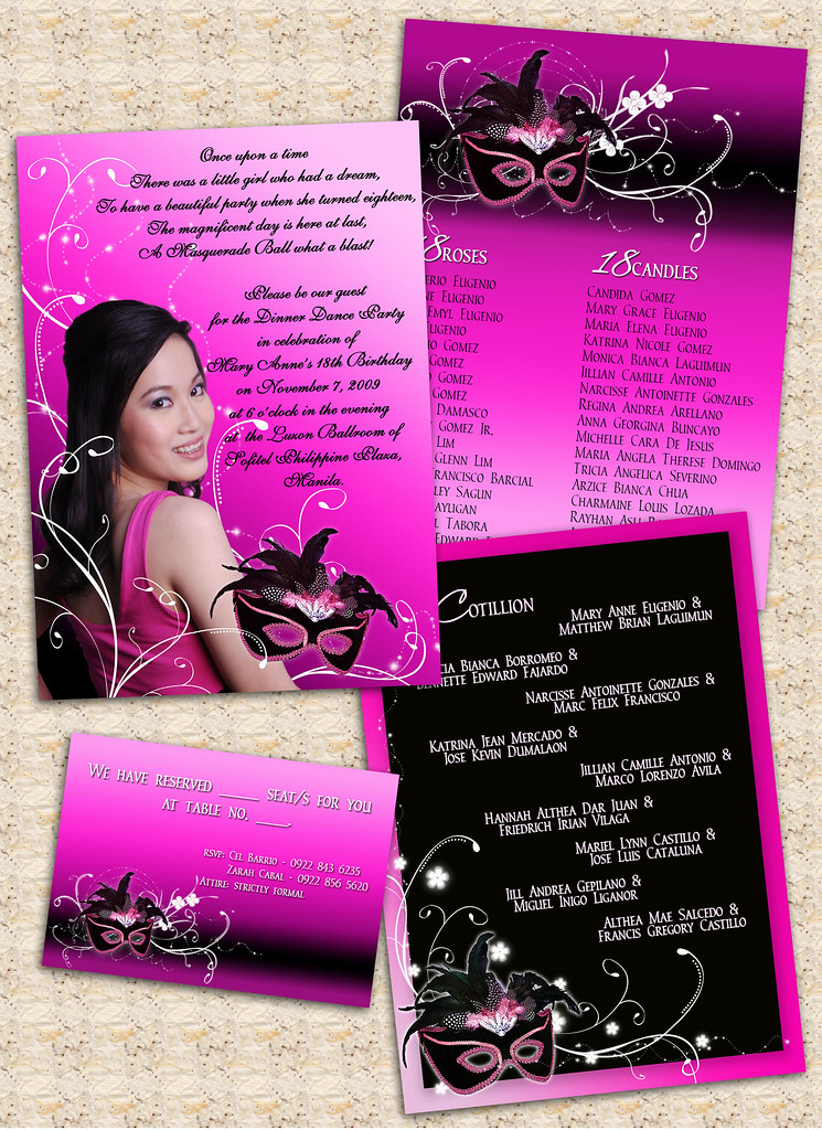 18th Birthday Invitation Card Masquerade Theme Our Boss D Flickr