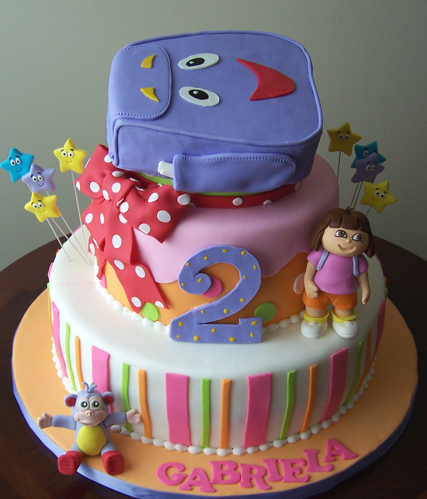 Dora the Explorer cake 12 8 cakes and a carved backpack Flickr