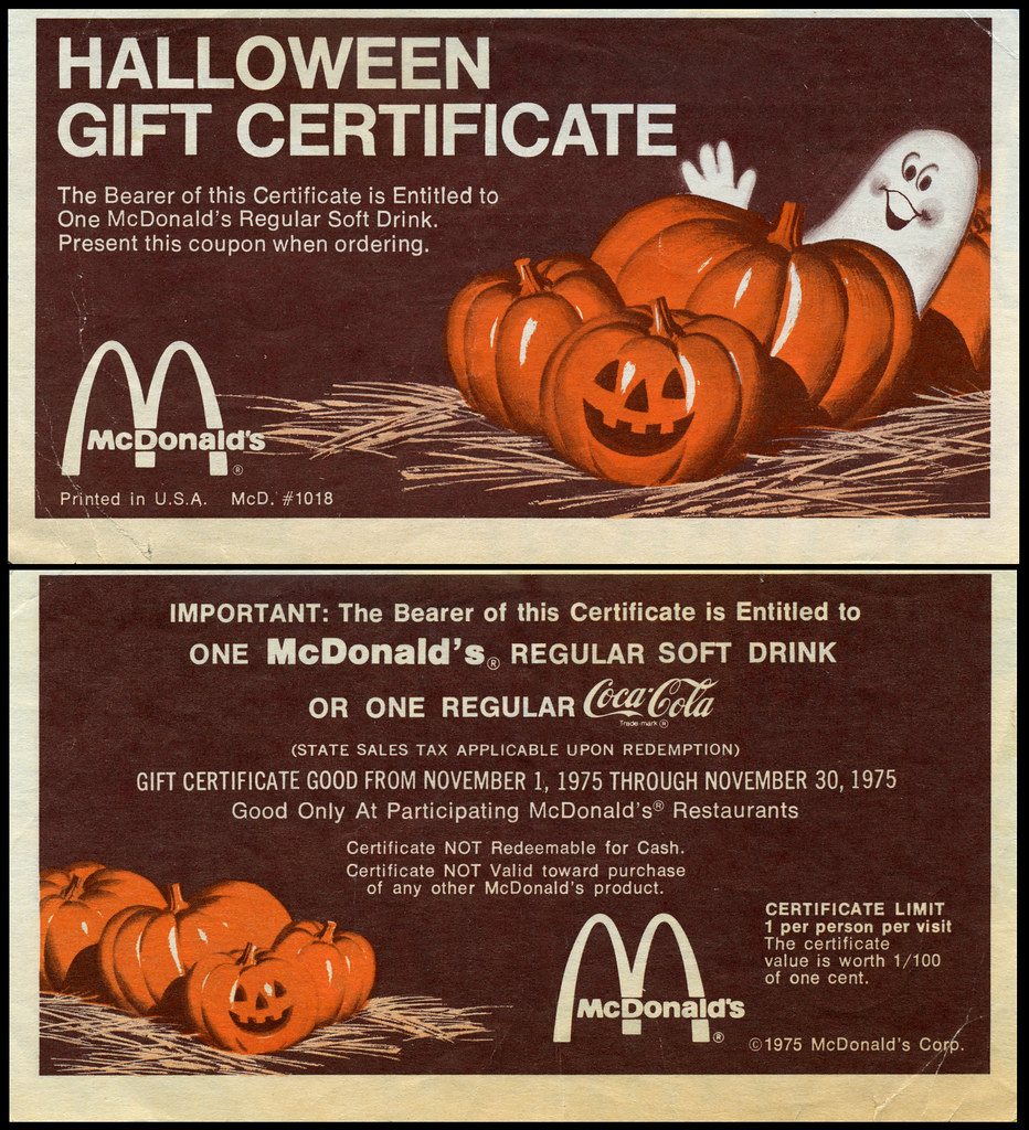 Mcdonalds halloween gift certificate 1975 not seasona flickr mcdonalds halloween gift certificate 1975 by jasonliebig 1betcityfo Image collections