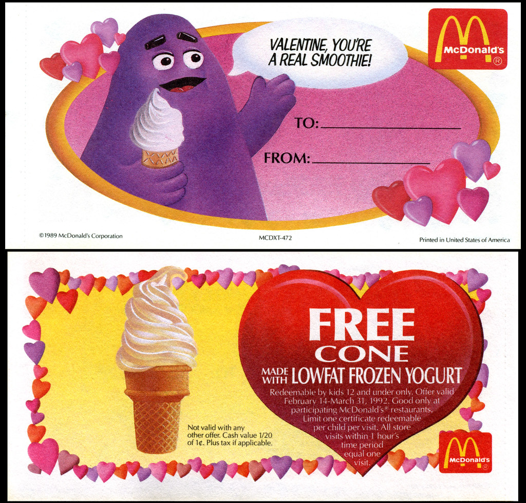 Mcdonalds valentines day gift certificates 1992 grima flickr mcdonalds valentines day gift certificates 1992 grimace by jasonliebig 1betcityfo Image collections