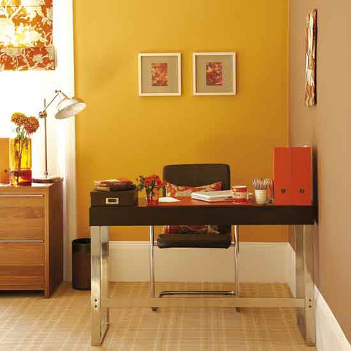 Bright, modern office: Orange paint + chocolate-brown acce… | Flickr