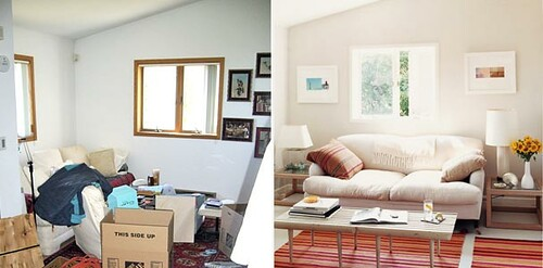 Ideas for small spaces before after living room white flickr - Living room design for small spaces image ...