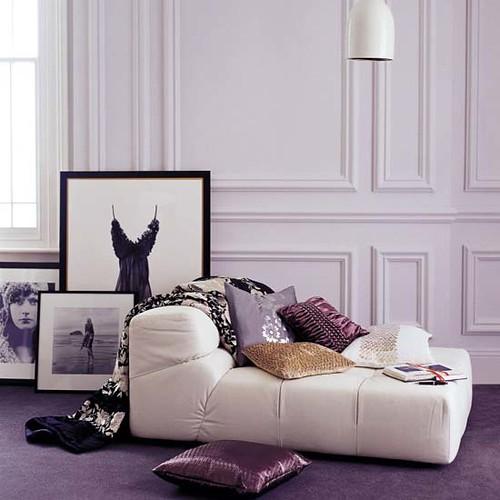 ... Glamorous Cream And Purple Living Room | By BrunchatSaks