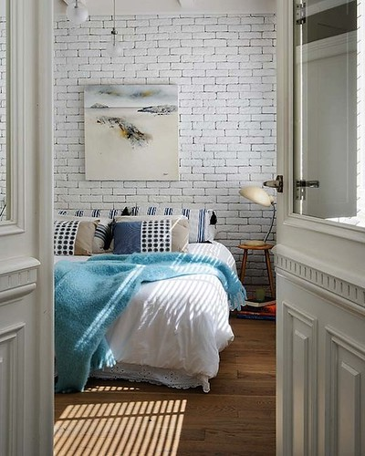 From Bed - Table - TV {blue and white bedroom} | by recent settlers