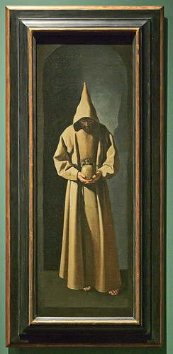 "Oil painting, ""St. Francis Contemplating a Skull"", by Francisco de Zurbarán, Spanish, ca. 1635, at the Saint Louis Art Museum, in Saint Louis, Missouri, USA 