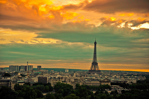 Paris at sunset with the Eiffel Tower | by tibchris