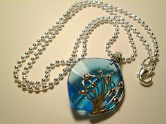 Necklace with Glass Pendant and Sterling Silver | by Kira's Creations