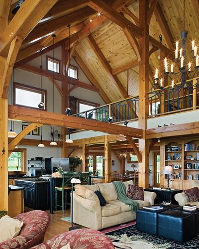 Hillside Timber Cottage Timber Frame Home Great Room