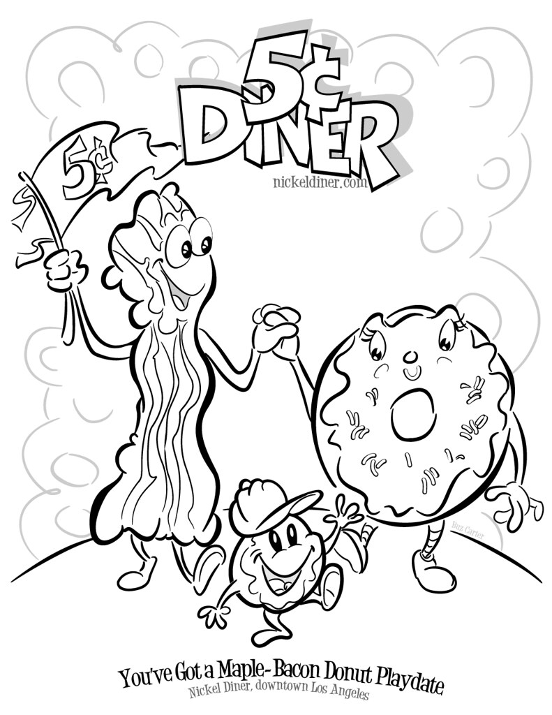 nickel diners famous maple bacon donut coloring book page by buz carter