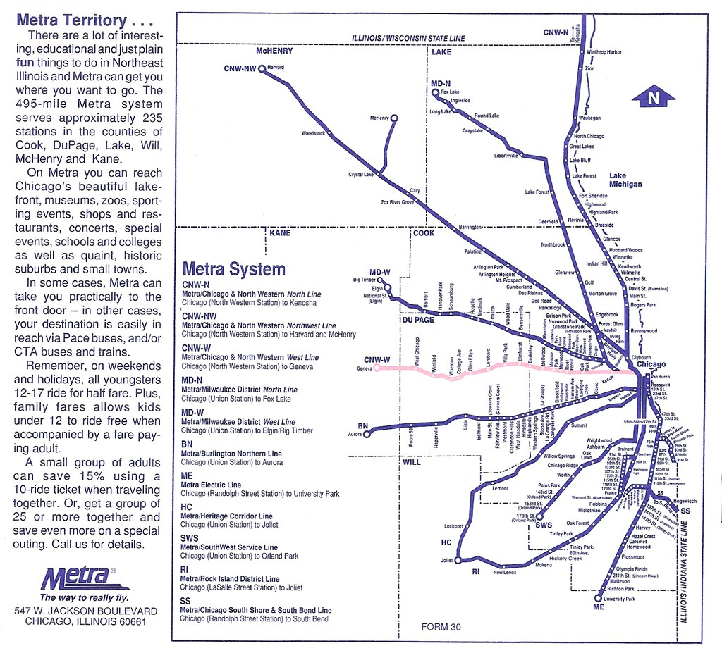 Metra map, spring 1995 | I\'m hardly an expert on Metra and C… | Flickr