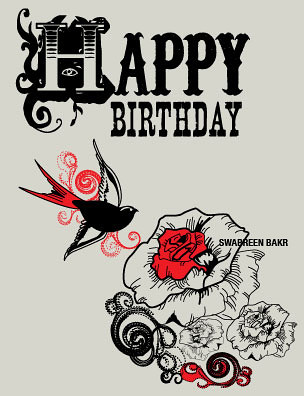 stationary design birthday card  american tattoo styled in…  flickr, Birthday card