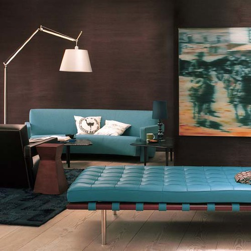 Brown blue decor chocolate turquoise modern leather for Blue leather chaise
