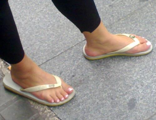 Candid milf flip flops