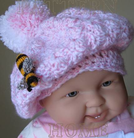 Pdf Crochet Pattern Tam With Pom Pom And Bee Brooch For Ba Flickr