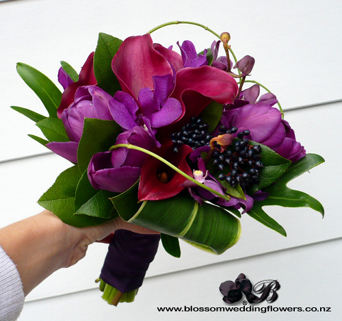 Dark Blue Flowers For Wedding Bouquets: Purple Bridesmaid Bouquet With Callas Tulips Orchids And V